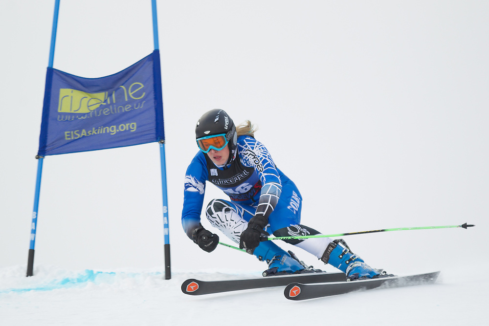 Mardene Haskell of Colby College, skis during the first run of the women's giant slalom at the Colby College Carnival at Sugarloaf Mountain on January 17, 2014 in Carabassett Valley, ME. (Dustin Satloff/EISA)