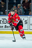 KELOWNA, BC - FEBRUARY 7: Johnny Ludvig #15 of the Portland Winterhawks skates with the puck against the Kelowna Rockets at Prospera Place on February 7, 2020 in Kelowna, Canada. Ludvig was selected in the 2019 NHL entry draft by the Florida Panthers. (Photo by Marissa Baecker/Shoot the Breeze)