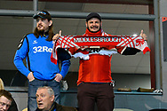 A Middlesbrough fan with his scalf during the The FA Cup match between Newport County and Middlesbrough at Rodney Parade, Newport, Wales on 5 February 2019.