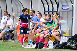 Anita Legenic and other players of ZNK Pomurje during the UEFA Women's Champions League Qualifying Match between ZNK Teleing Pomurje (SLO) and Olimpia Cluj (ROU) at Sportni Park on August 16, 2015 in Beltinci, Slovenia. Photo by Mario Horvat / Sportida