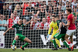 (L-R) Karim El Ahmadi of Feyenoord, goalkeeper Brad Jones of Feyenoord, Kevin Diks of Feyenoord, Guus Til of AZ during the Dutch Toto KNVB Cup Final match between AZ Alkmaar and Feyenoord on April 22, 2018 at the Kuip stadium in Rotterdam, The Netherlands.