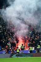 Football - 2019 / 2020 UEFA European Championships Qualifier - Group E: Wales vs. Hungary<br /> <br /> hungary fans let off a red flare , at Cardiff City Stadium.<br /> <br /> COLORSPORT/WINSTON BYNORTH