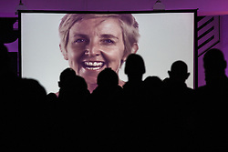 "© Licensed to London News Pictures . 14/08/2015 . Manchester , UK . People watch a recording of the tribute to Tony Wilson , "" St Anthony : an ode to Anthony H Wilson "" , featuring friends and colleagues (pictured JULIE HESMONDHALGH ) of Tony Wilson lip syncing to Mike Garry 's poem , during a tribute at Old Granada Studios . Photo credit : Joel Goodman/LNP"