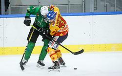 Zorko Luka of HK SZ Olimpija vs Lievore Edoardo of Asiago during first leg Ice Hockey game between HK SZ Olimpija Ljubljana and Asiago Hockey in Final of Alps Hockey League 2020/21, on April 20, 2021 in Hala Tivoli, Ljubljana, Slovenia. Photo by Vid Ponikvar / Sportida