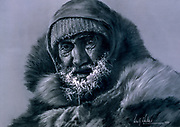 Sir Wally Herbert, etching / pen sketch, self-portrait at Geographic North Pole, 1969 during first traverse of the Arctic Ocean