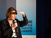 15 JULY 2019 - DES MOINES, IOWA: Senator AMY KLOBUCHAR (D-MN) looks at the crowd during her presentation at the first AARP Presidential Candidate Forum in Des Moines. The forum featured Senator Cory Booker, Governor John Hickenlooper, Senator Amy Klobuchar and Vice President Joe Biden. The AARP is hosting other forums for the rest of the Democratic field in other towns in Iowa this week. Iowa hosts the first event of the 2020 Presidential election cycle. The Iowa Caucuses are on February 3, 2020.       PHOTO BY JACK KURTZ