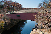 Narrows Covered Bridge was built in 1882 in Burr Arch style by J.A. Britton over Sugar Creek. Turkey Run State Park, in historic Parke County, Indiana, USA.