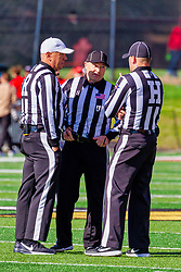 NORMAL, IL - October 16:  Referee Aaron Adams, Matt Powell, John Winter during a college football game between the NDSU (North Dakota State) Bison and the ISU (Illinois State University) Redbirds on October 16 2021 at Hancock Stadium in Normal, IL. (Photo by Alan Look)