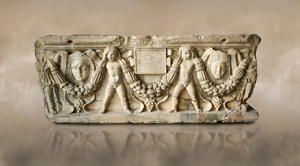 Roman relief sculpted garland sarcophagus with cherubs, 3rd century AD. Adana Archaeology Museum, Turkey. Against a warm art background .<br /> <br /> If you prefer to buy from our ALAMY STOCK LIBRARY page at https://www.alamy.com/portfolio/paul-williams-funkystock/greco-roman-sculptures.html . Type -    Adana     - into LOWER SEARCH WITHIN GALLERY box - Refine search by adding a subject, place, background colour, museum etc.<br /> <br /> Visit our ROMAN WORLD PHOTO COLLECTIONS for more photos to download or buy as wall art prints https://funkystock.photoshelter.com/gallery-collection/The-Romans-Art-Artefacts-Antiquities-Historic-Sites-Pictures-Images/C0000r2uLJJo9_s0