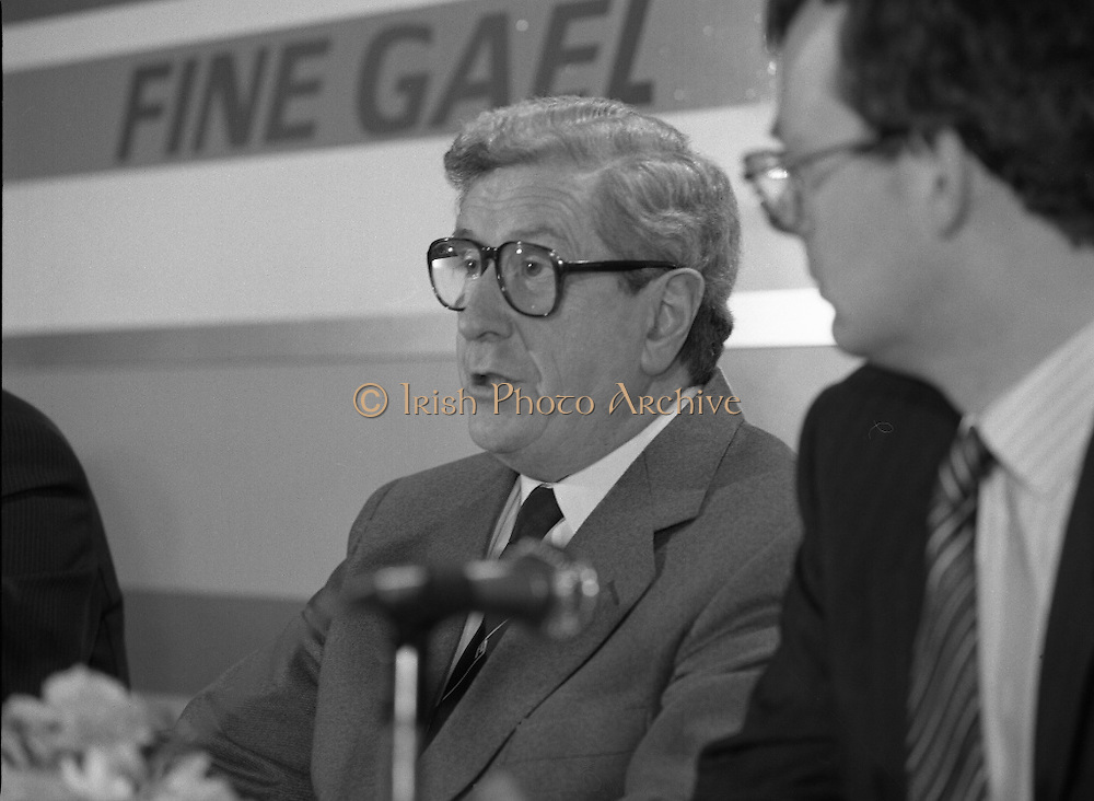 Garret Fitzgerald Stands Down As Fine Gael Leader.(R52)..1987..11.03.1987..03.11.1987..11th March 1987..After the loss at the recent general election Dr Garret Fitzgerald took the decision to resign as leader of the Fine Gael Party...At the Press Conference to announce his decision to resign as Fine Gael leader, Dr Fitzgerald speaks to the audience outlining his reasons for stepping down.