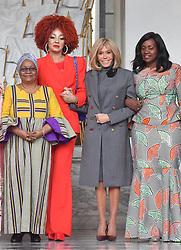 Exclusive - France's first lady Brigitte Macron welcomes Mali's first lady Keïta Aminata Maiga, Cameroun's first lady Chantal Biya and Sierra Leone's first lady Fatima Maada Bio at the Elysee presidential palace in Paris, France, on November 12, 2019. Photo by Christian Liewig/ABACAPRESS.COM