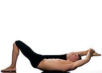 caucasian man gymnastic warm up isolated studio on white background