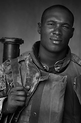Lance Corporal James Leach, 23, Maplewood, MN, 1st Platoon, Kilo Company, 3rd Battalion 1st Marine Regiment. 1st Marine Division, United States Marine Corps at the company's firm base in Haditha, Iraq on Thursday, Oct. 12, 2005.
