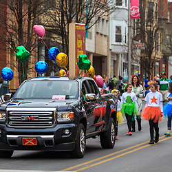 York, PA - March 12, 2016: A truck with colorful balloons in the annual Saint Patrick's Day Parade in the City of York, Pennsylvania.