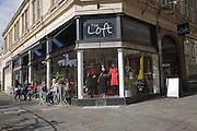 The Loft shop and outdoors cafe tables Bath,  Bartlett Street, Somerset, England