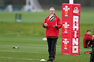 Robert Howley, the Wales coach looks on during the Wales Rugby team training at the Vale Resort, Hensol near Cardiff, South Wales on Wednesday 8th March 2017. The team are preparing for the the RBS Six nations match against Ireland.  pic by  Andrew Orchard, Andrew Orchard sports photography.