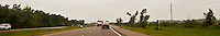US 90 4-lane highway in Louisiana panorama