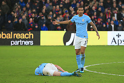 31 December 2017 -  Premier League - Crystal Palace v Manchester City - Kevin De Bruyne of Manchester City lays injured as Danilo reacts - Photo: Marc Atkins/Offside