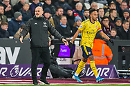 Freddie Ljungberg, Head Coach of Arsenal FC during the Premier League match between West Ham United and Arsenal at the London Stadium, London, England on 9 December 2019.