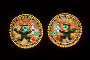 PERU, PRECOLUMBIAN GOLD Chimu; ear ornaments of gold, lapiz