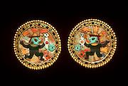 PERU, PRECOLUMBIAN GOLD Chimu; ear ornaments of gold, lapiz