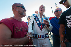 After Doug Danger's successful jump of 22-cars on Evel Knievel's 1972 Harley-Davidson XR-750 at the Buffalo Chip Campground and breaking Evel's old record during the 75th Annual Sturgis Black Hills Motorcycle Rally.  SD, USA.  August 6, 2015.  Photography ©2015 Michael Lichter.