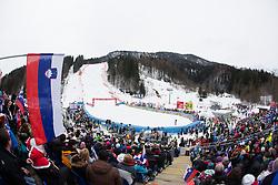 View on the track during the 1st Run of Men's Giant Slalom - Pokal Vitranc 2013 of FIS Alpine Ski World Cup 2012/2013, on March 9, 2013 in Vitranc, Kranjska Gora, Slovenia.  (Photo By Vid Ponikvar / Sportida.com)