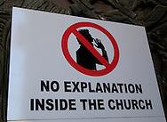 A sign in the Garden of Gethsemane in Jesusalem<br /> Photo by Dennis Brack