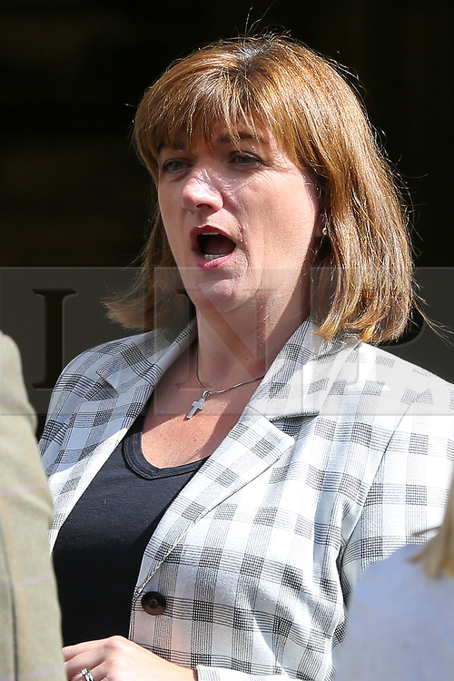 © Licensed to London News Pictures. 03/009/2019. London, UK. Secretary of State for Digital, Culture, Media and Sport NICKY MORGAN gives a media interview outside Parliament. MPs return to Westminster for a no deal  showdown that could result in a snap election. Photo credit: Dinendra Haria/LNP