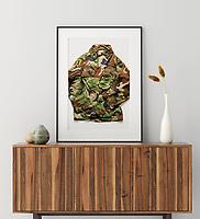 Mock up poster frame on wooden cabinet in home interior, 3d render