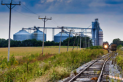 3 locomotives operated by Motive Rail Inc. stage grain cars at an elevator in a small town in central Illinois as the harvest of 2021 gets underway