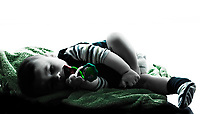 baby sleeping  in silhouettes on white background