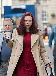 """© Licensed to London News Pictures. FILE PICTURE dated 11/03/2020 of LAURA HAWKINS (beige coat) arriving at Bristol Crown Court. Today 17/03/2020 LAURA HAWKINS, 39, has been found guilty of permitting a property to be used for the production of a controlled drug of Class B. JAMES TOOGOOD, age 36 was today 17/03/2020 found guilty at Bristol Crown Court of damaging property being reckless as to whether life was endangered when there was an explosion which caused £260,000 worth of damage to a house in Whitchurch Lane, Bristol. James Toogood, who has 14 previous convictions including robbery, was using butane to make a powerful cannabis derivative known as """"shatter"""". He was remanded in custody until sentencing on Monday. Toogood had admitted producing butane hash oil but said he was not doing so on February 23 2019, the date when there was an explosion at the house he was living in, a council flat at 264 Whitchurch Lane. At the house explosion in Whitchurch Lane, three people received minor injuries and were taken to hospital and much of the house was destroyed. A large trampoline was used to help some people escape. Photo credit: Simon Chapman/LNP."""