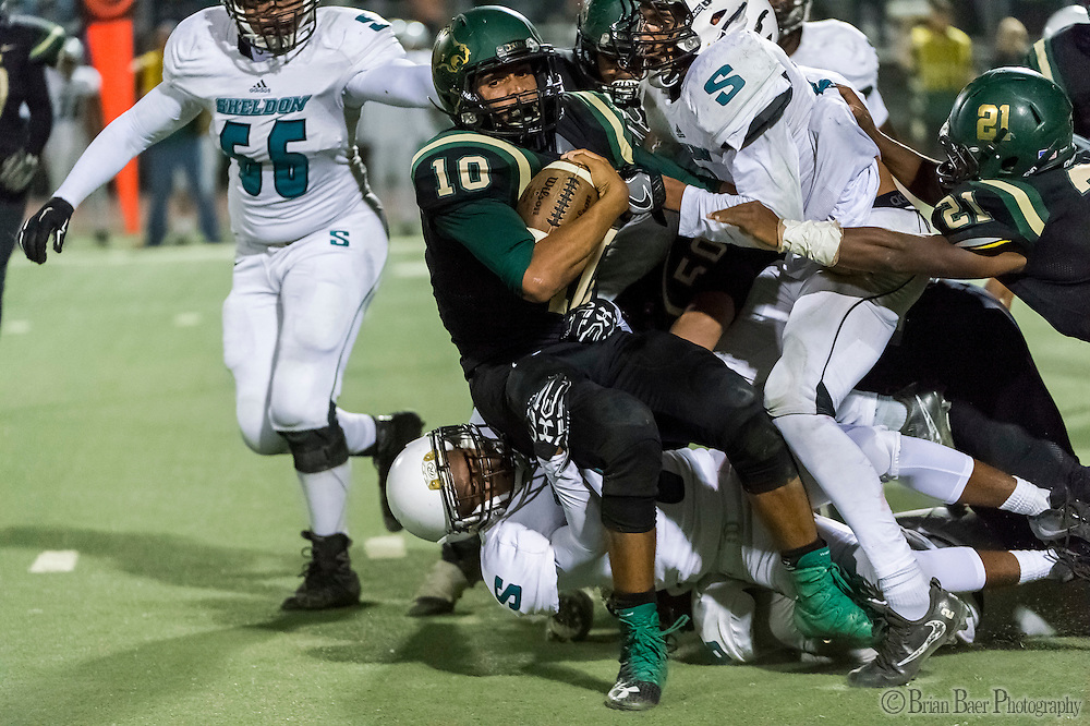 Monterey Trail Mustangs Robert Holt (10), runs with the ball during the second quarter as the Monterey Trail Mustangs host the Sheldon High School Huskies Friday Sep 23, 2016.<br /> photo by Brian Baer