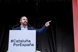 March 30, 2019 - Barcelona, Catalonia, Spain - Santiago Abascal president and leader of VOX is seen giving a speech during the protest..The political formation of Santiago Abascal has concentrated in Barcelona demanding the liberation of Catalonia, the suspension of autonomy, the dissolution of the Catalan police force and the closure of public television TV3, about two thousand people attended the event with numerous Spanish flags in the Plaza España of Barcelona (Credit Image: © Paco Freire/SOPA Images via ZUMA Wire)