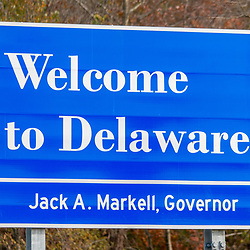 Marydel, DE, USA - November 9, 2014: A Welcome to Delaware state sign at the border with Maryland.