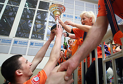 Mitja Gasparini is giving a cup to Ivanka Mihelcic at 4th and final match of Slovenian Voleyball  Championship  between OK Salonit Anhovo (Kanal) and ACH Volley (from Bled), on April 23, 2008, in Kanal, Slovenia. The match was won by ACH Volley (3:1) and it became Slovenian Championship Winner. (Photo by Vid Ponikvar / Sportal Images)/ Sportida)