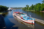 Tour boat on the Vltava River in Prague, Czech Republic