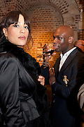 JOANNA YEARWOOD; ROBERT ELEGBA, The launch party of HiBrow and A Mighty Big If. ÊThe Crypt. St. Martins in the Fields. London. 24 January 2012<br /> JOANNA YEARWOOD; ROBERT ELEGBA, The launch party of HiBrow and A Mighty Big If.  The Crypt. St. Martins in the Fields. London. 24 January 2012