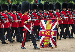 "© London News Pictures. 30/05/2015. London, UK. The Queen's Colour is ""Trooped"". This year the honour falls to the Welsh Guards in recognition of 2015 as the 100th anniversary of their founding.  The Major General's Review on Horse Guards Parade, London. 5,500 spectators filled the stands to witness the first of three annual world class military demonstrations that culminate with the Queen's Birthday Parade on 13th June. Photo credit: Sergeant Rupert Frere/LNP"