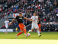 Billy Sharp of Sheffield Utd scores his second goal during the English League One match at  Stadium MK, Milton Keynes. Picture date: April 22nd 2017. Pic credit should read: Simon Bellis/Sportimage