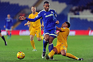 Cardiff City's Kenneth Zohore (l) is tackled by Preston's Tyias Browning. EFL Skybet championship match, Cardiff city v Preston North End at the Cardiff City stadium in Cardiff, South Wales on Tuesday 31st January 2017.<br /> pic by Carl Robertson, Andrew Orchard sports photography.