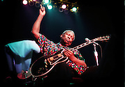 Blues legend B.B. King, with his guitar Lucille on his lap,  raised his hand to the crowd as he jammed through his set in the B.B. King blues festival at Rupp Arena on sunday AUgust 12,1999 in Lexington Ky. Being 74 King said he had a right to sit down and jam. Photo by Mark Cornelison | Staff