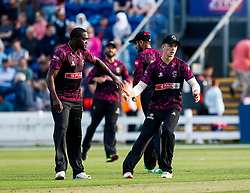 Jerome Taylor of Somerset celebrates taking the wicket of Dan Douthwaite of Glamorgan<br /> <br /> Photographer Simon King/Replay Images<br /> <br /> Vitality Blast T20 - Round 1 - Glamorgan v Somerset - Thursday 18th July 2019 - Sophia Gardens - Cardiff<br /> <br /> World Copyright © Replay Images . All rights reserved. info@replayimages.co.uk - http://replayimages.co.uk