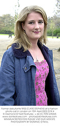 Former debutante MISS CLARE STEPHENS at a fashion photo call in London on 15th April 2002.OYX 4