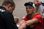 DALLAS, TX - MAY 13:  Jason Knight has his hands wrapped before fighting Chas Skelly during UFC 211 at the American Airlines Center on May 13, 2017 in Dallas, Texas. (Photo by Cooper Neill/Zuffa LLC/Zuffa LLC via Getty Images) *** Local Caption *** Jason Knight