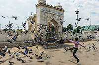 This image of a boy running amongst pigeons outside the Hazratbal Shrine, along Dal Lake in Srinagar, Kashmir, Jammu and Kashmir State, India won the 2015 Gold Action award in the Society of American Travel Writers' Bill Muster photo competition.
