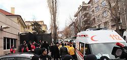 Explosion outside the American Embassy, Ankara, Turkey, February 1, 2013. Photo by Imago / i-Images..UK ONLY