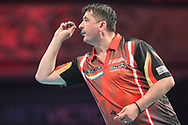 Mensur Suljovic during the BetVictor World Matchplay Darts 2018 semi final at Winter Gardens, Blackpool, United Kingdom on 28 July 2018. Picture by Shane Healey.