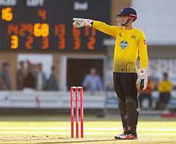 Gloucestershire's Gareth Roderick points the way<br /> <br /> Photographer Simon King/Replay Images<br /> <br /> Vitality Blast T20 - Round 8 - Glamorgan v Gloucestershire - Friday 3rd August 2018 - Sophia Gardens - Cardiff<br /> <br /> World Copyright © Replay Images . All rights reserved. info@replayimages.co.uk - http://replayimages.co.uk